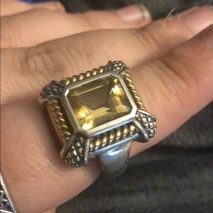 Sterling Silver with 18kt gold, Citrine Ring